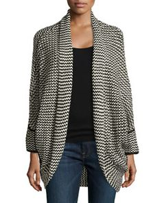 T99BT Neiman Marcus Knit Circle Cardigan Sweater, Black/Ivory