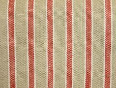 Fabrics + Papers has, by far, the best and biggest striped fabric selection anywhere!  Kentwell Stripe Fabric A woven linen stripe fabric in taupe with a red stripe highlighted in white.