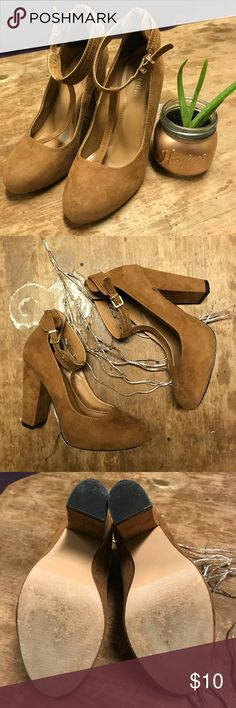 """""""Cara"""" Brown Suede Heels Well loved. Some scuffs/discoloration. Still have lots of life in them!  Soft light brown/taupe/beige suede heels. Buckle ankle strap. T-strap. 4"""" heel, 1/2"""" platform.  ❤️See last picture for FAQ & Information about my closet❤️ Attention Shoes Heels"""