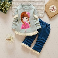 >> Click to Buy << Baby's Clothing Set 9 to 24CM Printed Girl Shirt + Jeans With Tassel Long Sleeves Cotton Spring Autumn Girls Set Baby's Clothing #Affiliate