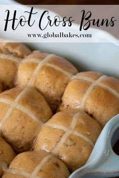 Amazing spiced buns with dried fruit and candied peel, brushed with a sweet orange glaze. Great for Easter or any day! Easter Dinner Recipes, Dessert Recipes, Baking Recipes, Bread Recipes, Dried Figs, Dried Fruit, Baker And Cook, Hot Cross Buns, Bun Recipe