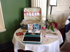 My nieces wedding guest book & card table...
