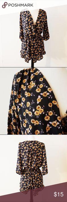 Papaya Sunflower Romper 🌻 Loose fitting, floral romper that's super cute for this upcoming season! Has cute ruffle pleats hem. Drop me an offer ⬇️ Papaya Pants Jumpsuits & Rompers
