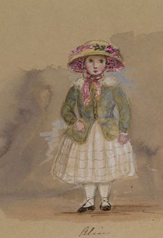 A watercolour of Pincess Alice made by her mother Queen Victoria, 16 August 1846.