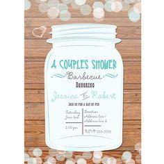 Mason Jar Rustic Wooden Country Blue Lights Bridal Invitation