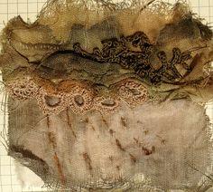 Julia Wright fabric manipulation and crochet A Level Textiles, Textiles Sketchbook, Textiles Techniques, Sewing Techniques, Textile Texture, Encaustic Art, Fabric Manipulation, Textile Artists, Fabric Art