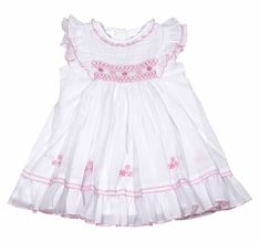 Sarah Louise Baby Girls White Smocked Dress with Ruffle Sleeves and Pink Details