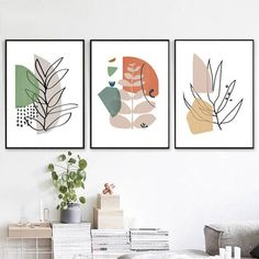 Scandi Poster Set Of 3 Prints Modern Art Home Decor Leaves Wall Art Digital Print Leaf Line Drawing Abstract Art Plant Line Art Illustration - Malerei Kunst Leaf Wall Art, Leaf Art, Abstract Wall Art, Modern Abstract Art, Abstract Portrait, Portrait Paintings, Painting Abstract, Acrylic Paintings, Art Paintings