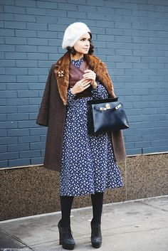 New_York_Fashion_Week-Street_Style-Fall_Winter-2015-Miroslava_Duma-Floral_Dress-LEather_Top-2 by collagevintageblog, via Flickr