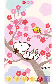 Snoopy and Woodstock Sitting Lazily in a Cherry Blossom Tree