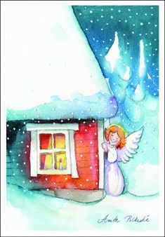 Christmas Past, Christmas Angels, Christmas Greetings, Christmas Cards, Angel Pictures, Cool Pictures, Christmas Paintings, Watercolor Cards, Christmas Pictures