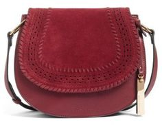 Vince Camuto Kirie Suede & Leather Crossbody Saddle Bag - Red