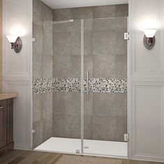 """Aston SDR985-53-10 Nautis 53"""" Wide x 72"""" High Frameless Hinged Shower Door with Stainless Steel Showers Shower Doors Hinged"""