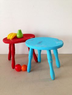 Milking stool or step stool in bright aqua blue upcycled cottage chic robins egg blue by KimBuilt on Etsy