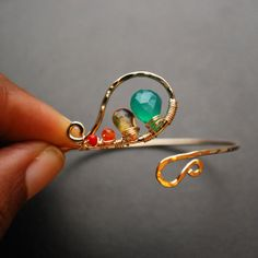 Green Onyx Yellow Citrine Orange Carnelian and Red Coral bangle bracelet by UniqueKreations, $39.00