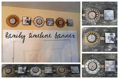 Family Timeline - a banner commemorating special moments in your family's history and canvas clock faces documenting the time and photos.