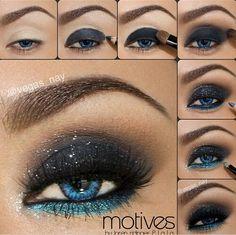 Midnight Blue smokey eye makeup! Gorgeous!