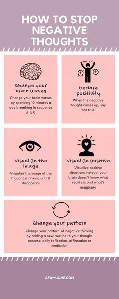 How To Stop Negative Thoughts Infographic positive growth infographic growth mindset positive tips for growth personal development self-improvement development Positive Mindset, Positive Attitude, Positive Affirmations, Positive Psychology, Spiritual Psychology, Positive Mental Health, Positive Living, Positive Vibes Only, Mental Training