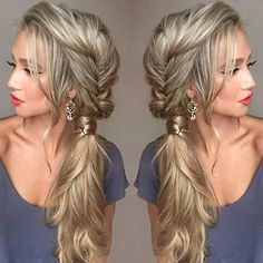 Messy Fishtail Braid into a Side Ponytail