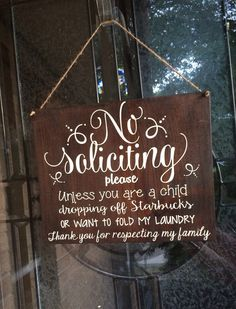 No soliciting // wood sign // door hanger  by MommysCraftyCloset