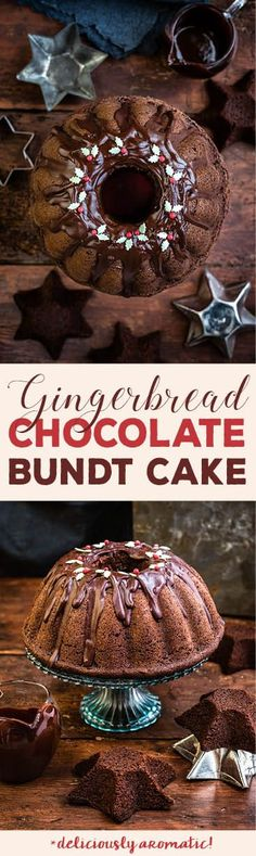 Christmas chocolate gingerbread bundt cake with chocolate glaze #Christmas #gingerbread | Supergolden Bakes