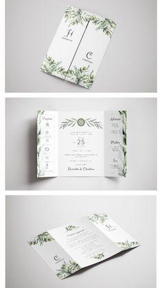 Olives and greenery in a stylish yet simple gate fold wedding invitation. Wedding Invitation Layout, Cricut Wedding Invitations, Elegant Wedding Invitations, Wedding Cards, Portfolio Format, Garden Gate, Greenery, Rest, Invitations