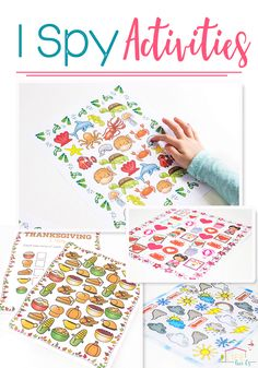 These printable I Spy Activities are so much fun! Counting and alphabet activities, along with sensory activities for lots of hands-on learning! Printable options for many themes