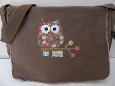 Messenger+Bag+Canvas+Messenger+Bag+Brown+by+StitchesbyJulia