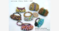 Miniature beaded bags as Fashion Accessories - photos and work notes on beading mini bags. Beaded Purses, Beaded Bags, Beaded Bracelets, Barbie Accessories, Fashion Accessories, Jewelry Sets, Jewelry Making, Beaded Ornaments, Mini Purse