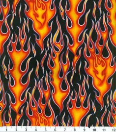 Novelty Cotton Fabric- Wheels On Fire