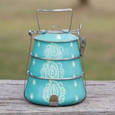 Paisley Tiffin Boxes (set of 3) - Teal / White.......this is just so cute!