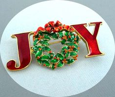 Vintage Christmas Brooch Wreath   JOY Holiday by thejewelseeker, $12.50