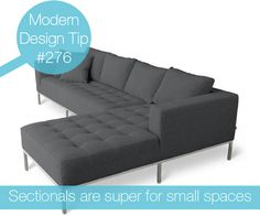Why you shouldn't forego a sectional just because you have a tiny space. #tips #design #sectionals #modern
