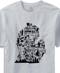 Michigan Collage (NO U.P) T-shirt - Silver  Designed in Detroit - Assembled in Detroit  Made In U.S.A.
