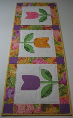 Quilted Table Runner , Springtime Tulips , Yellow/Violet/Pink/Green by VillageQuilts on Etsy