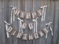 Happy Birthday Burlap - 3 garlands with bows - Choose Colors- Custom- Shabby chic Party Banner, Barn, Farm, Rustic, on Etsy, $39.00
