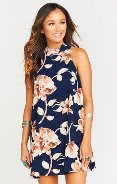 de87a29edf3 V-Right Back Mini Dress ~ Night Magnolia