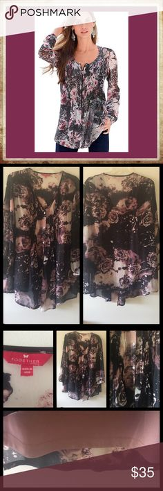 "🎼 Hopeless Romantic 🎼 Together Collection Brand - London  Romantic Georgette style Blouse Gorgeous colors of black, lavender, Ivory/cream with mauve colored camisole for underneath Long sleeves that can be pulled up with light cinch wristbands, button-down front with lined pin tuck panel, deep v-neck & front is longer than back. Lovely flowey lightweight material good for Spring and Summer seasons Polyester spandex blend; machine washable 🔹Bust 42-44"" 🔹Length front 33"", back 28"" Together…"