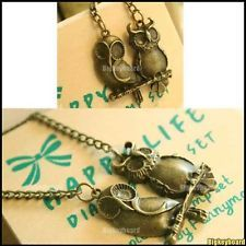 Bronze two Owls Pendant Long Necklace only $1.48 Shipped