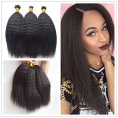 3bundles Brazilian Kinky Straight Bulk Hair Human Braiding Hair Bulk No Weft…
