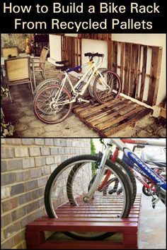Create an Inexpensive Storage System For Your Bike by Building a Bike Rack From Recycled Pallets Pallet Bike Racks, Diy Bike Rack, Pallet Shed, Bicycle Rack, Bike Racks For Garage, Bicycle Storage Garage, Bicycle Decor, Pallet Benches, Bicycle Basket