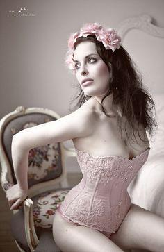 Steel Boned pink corset...