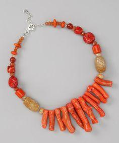 barse orange coral necklace - zulily.com