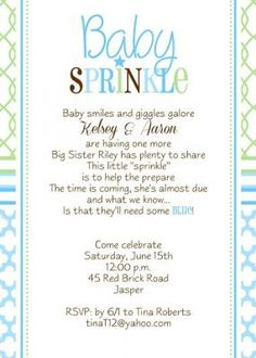 Little Angel Announcements & InvitationsBaby Sprinkle Shower Invitation , Ideas for boy with lime and Teal quatrefoil Patterns