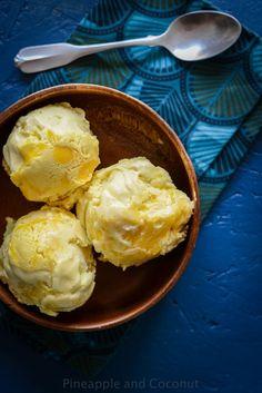 Coconut Ice Cream with Pineapple Curd Swirl