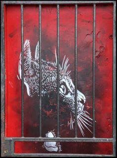 cat stencil in Hackney Wick