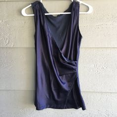 CLEARANCE S NAVY BLUE SLEEVELESS WRAP FRONT BLOUSE