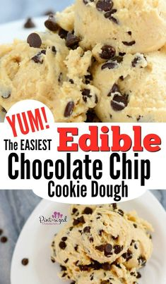 Easy Edible Cookie Dough The EASIEST and YUMMIEST edible chocolate chip cookie dough. I dare you to only eat one serving!The EASIEST and YUMMIEST edible chocolate chip cookie dough. I dare you to only eat one serving! Cookie Dough Desserts, No Bake Cookie Dough, Healthy Cookie Dough, Edible Cookies, Köstliche Desserts, Dessert Recipes, Cookie Dough For One, Edible Cookie Dough Recipe For One, Strawberry Desserts
