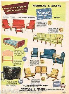 VYNEX FURNITURE AD RETRO MODERN AUSTRALIAN  Vintage Advertising 1954 Original Ad. Repinned by Secret Design Studio, Melbourne.  www.secretdesignstudio.com