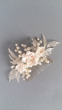 Blush flowers Bridal hair piece, Freshwater pearls Bridal hair comb, Bridal hairpiece, Wedding hair piece, Wedding head piece
